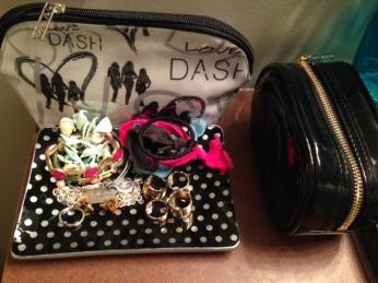 Makeup bags- Dash Miami and Tory Burch